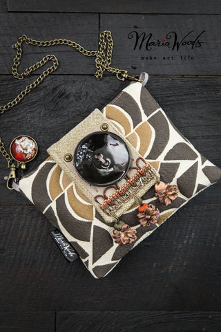 One-of-a-kind clutch/shoulder purse. Wearable art, handmade in pewter grey, cream and gold luxurious fabrics.