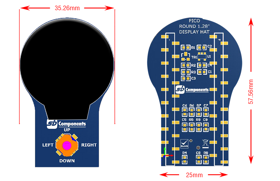 """1.28"""" Round LCD HAT for Pico size"""