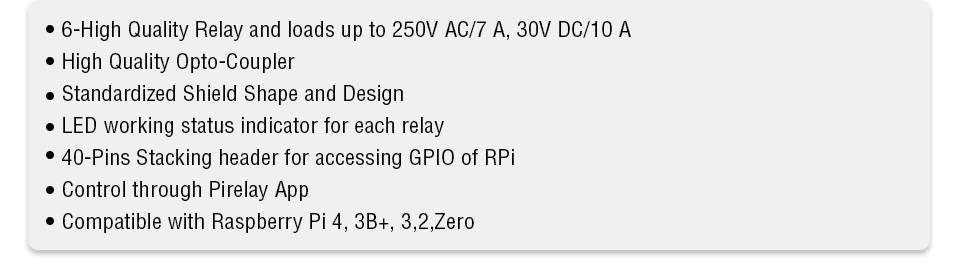 6 Ch Relay Board for Pi features