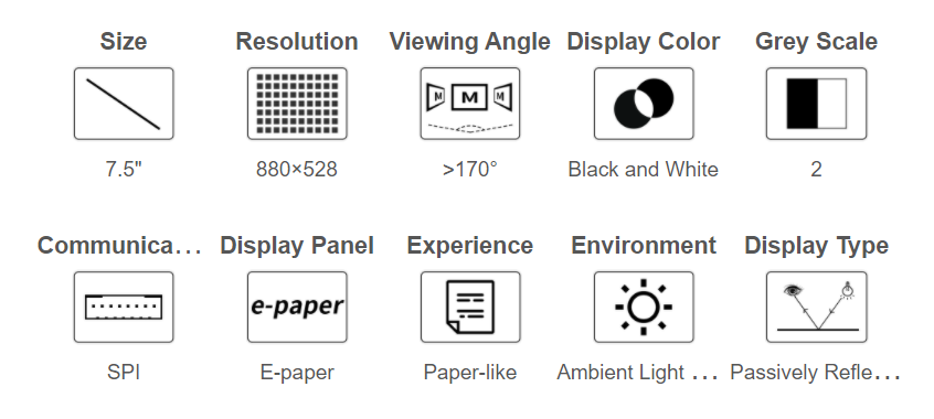 7.5inch HD e-Paper E-Ink Raw Display, 880×528, Black / White, SPI, without PCB