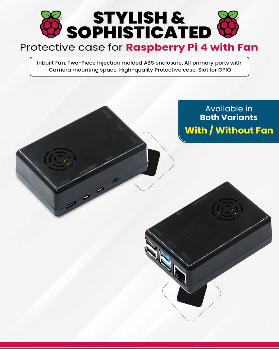 Raspberry Pi 4 black case with Cooling Fan Banner