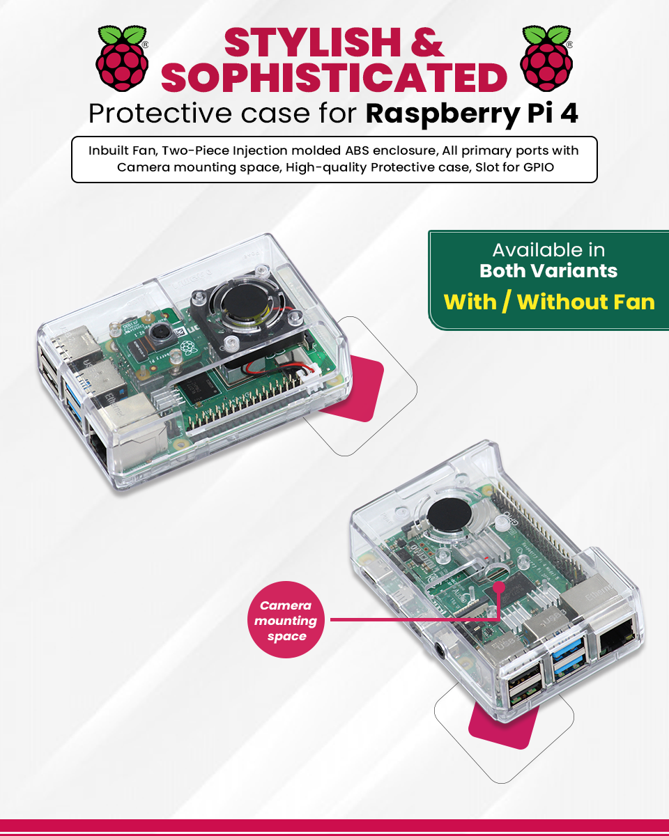 Clear Case with FAN for Raspberry pi 4