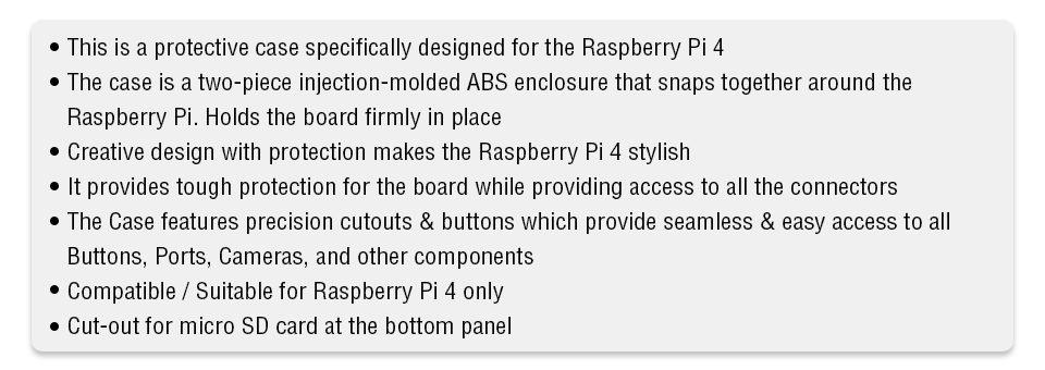 Features for Pi 4 Clear case
