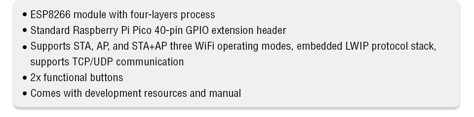 Pico WiFi HAT features