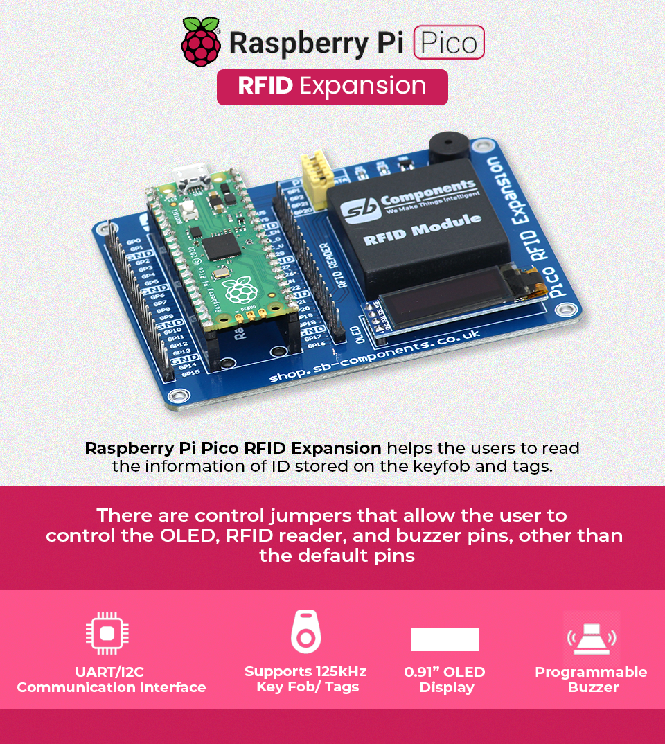 """Raspberry Pi Pico RFID Expansion is the latest technology in the range of SB Component products boasting an advanced RFID Reader at the frequency of 125KHz with a compact design that has a programmable 0.91"""" OLED Display and, an updated UART/I2C interface running, that is compatible with Raspberry Pi Pico. It helps the user to read the information of the ID stored on the RFID key fob and tags. Every RFID tag/key fob comes with a unique identity that cannot get copied. There are control jumpers that allow the user to control the OLED, RFID reader, and buzzer pins, other than the default pins."""