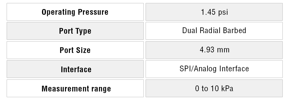 Differential Pressure Sensor specifications