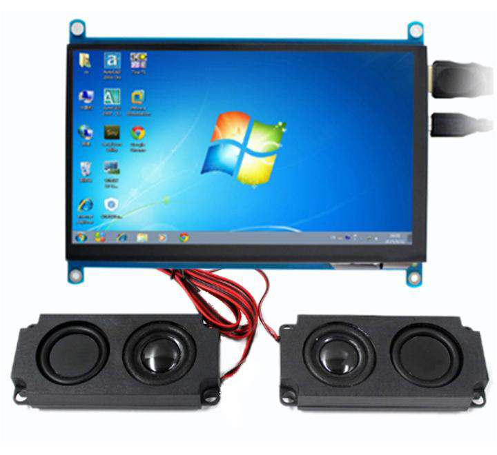 "7"" HDMI LCD (H) (1024x600), IPS, Capacitive Touch Screen with Speakers"