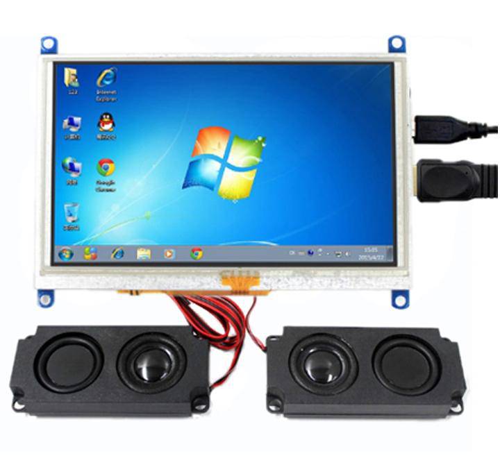 5inch HDMI LCD (G), 800x480, supports various systems, resistive touch with Speakers