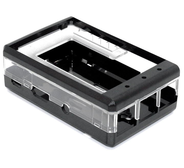 "Protective Black Case for Raspberry Pi 2, 3, 3B+ and 3.2"" LCD"