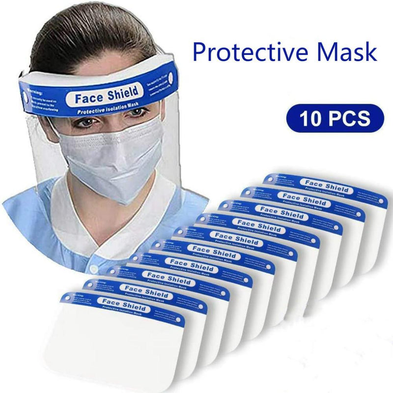 Safety Face Shield Full Protection Wide Visor Resistant Spitting Anti-Fog Lens Lightweight Adjustable Transparent Face Shield Unisex 10 pcs