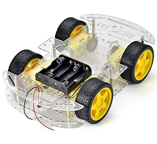 Raspberry Pi and Arduino compatible robot chassis with 4-motor drive system