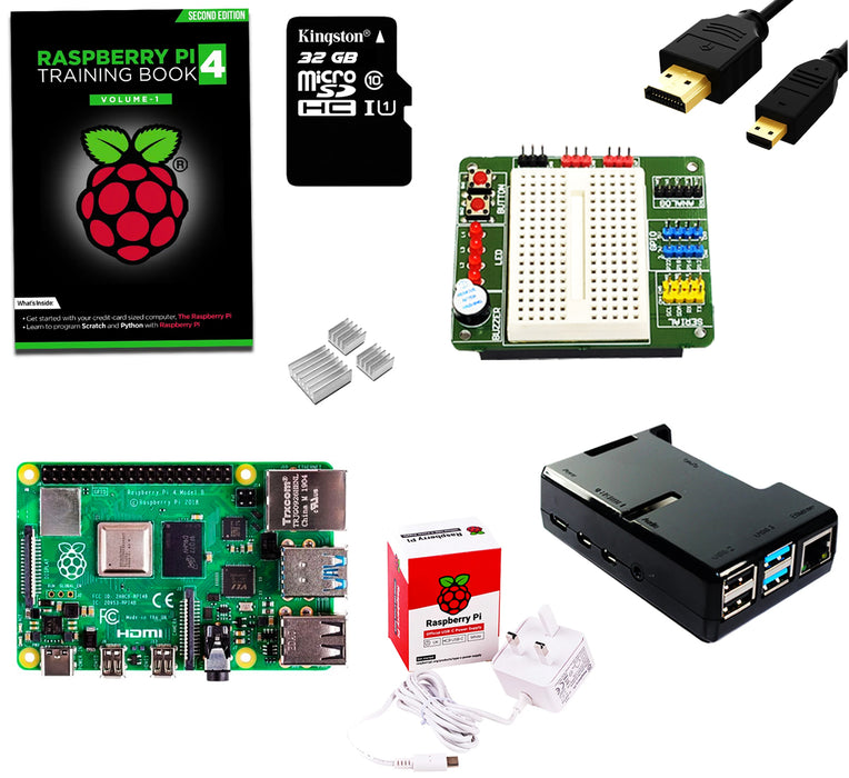 Raspberry Pi 4 Starter Kit with BreadPi & Training Book