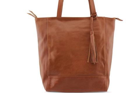 EMMA LEATHER HANDBAG IN MOCCA - PURE Accessories