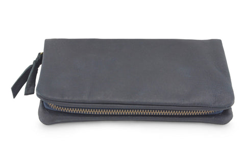 LEATHER PURSE IN NAVY