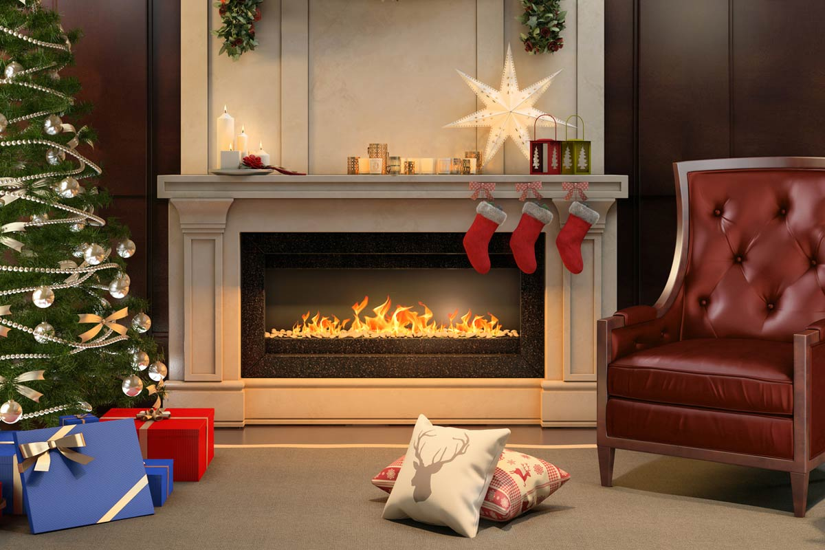 Fireplace Christmas.A Traditional Christmas With A Modern Ethanol Fireplace