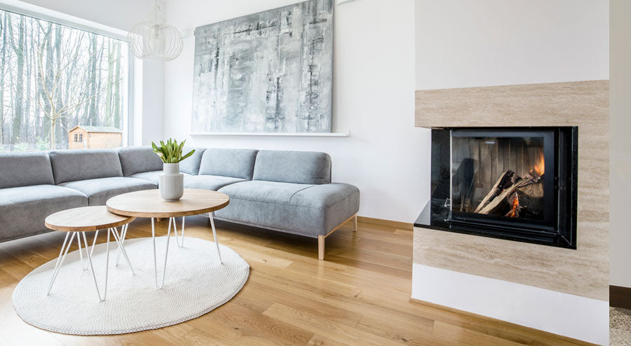 Combine a Modern Fireplace with an Antique Fireplace Grate