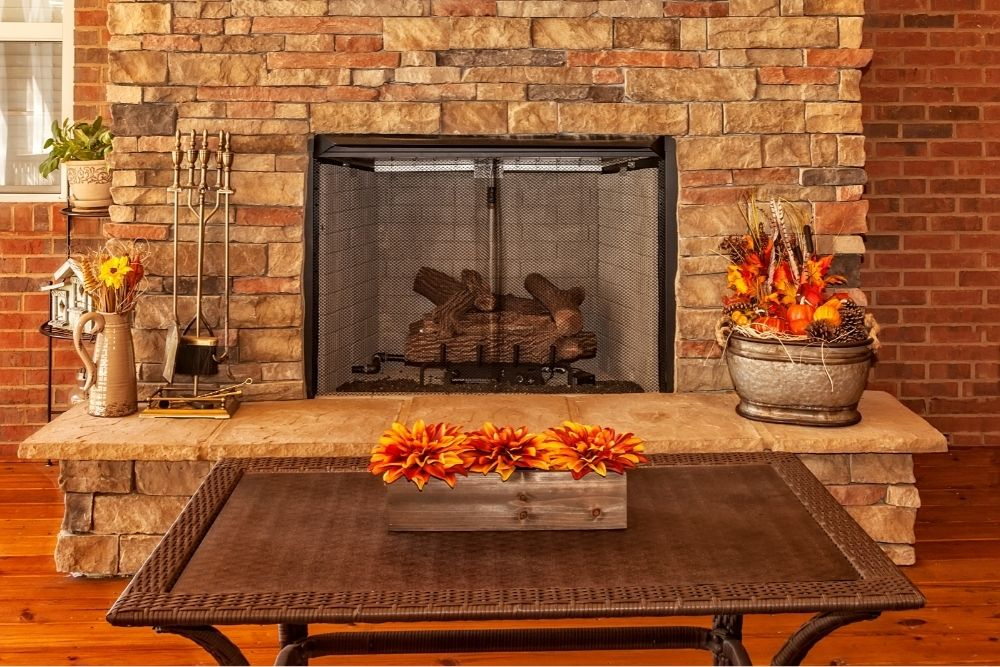 Stacking wood in a fireplace: