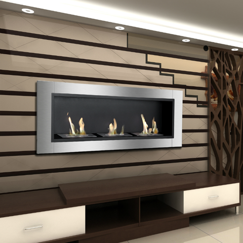 wall mount ethanol fireplace in living room