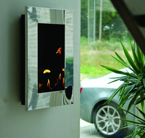 wall mount silver ethanol fireplace