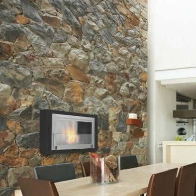 wall mount ethanol fireplace with bricks