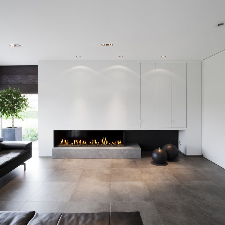Modern fireplace in clean house