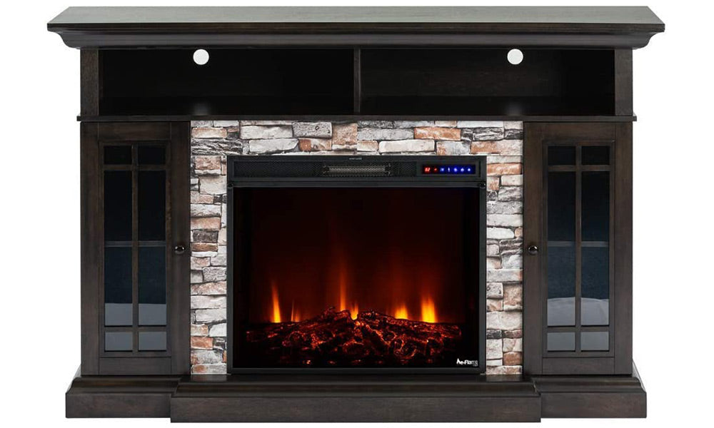 e-Flame USA Whistler Large TV Stand and Whistler LED Electric Fireplace Insert Stove with Remote Bundle - 3-D Logs and Fire