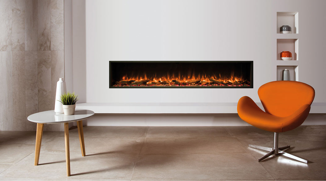 electric fireplave and white table