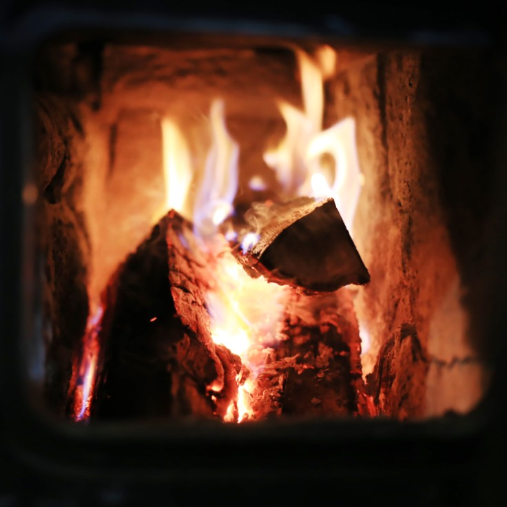 Wood burning fireplace with hot embers