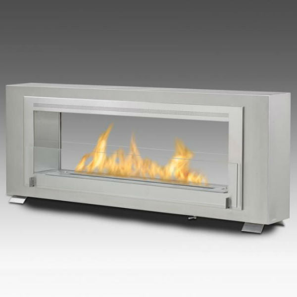 "Eco-Feu Santa Cruz 63"" Stainless Steel 2-Sided Ventless Ethanol Fireplace w/ Spout WS-00081-Modern Ethanol Fireplaces"