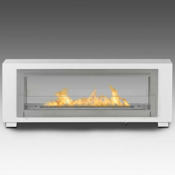 "Eco-Feu Santa Cruz 63"" White 2-Sided Ventless Ethanol Fireplace w/ Spout WS-00080-Modern Ethanol Fireplaces"
