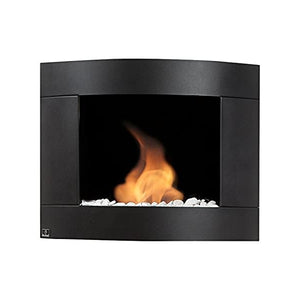 "Bio-Blaze Diamond II BB-D2B 31"" Black Ventless Wall Mounted Ethanol Fireplace-Modern Ethanol Fireplaces"