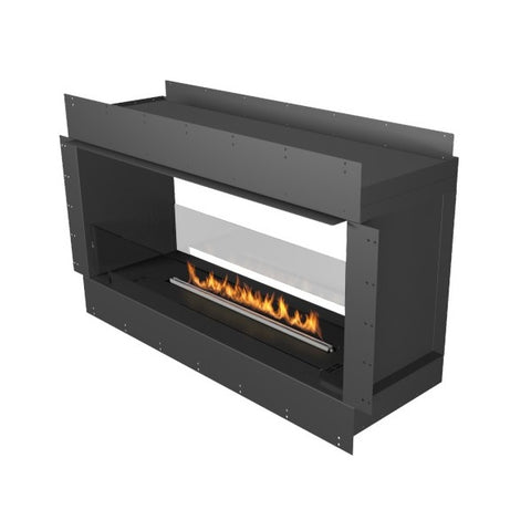 "Planika Forma Double Sided 48"" Black Firebox Ethanol Fireplace w/ Remote Control-Modern Ethanol Fireplaces"