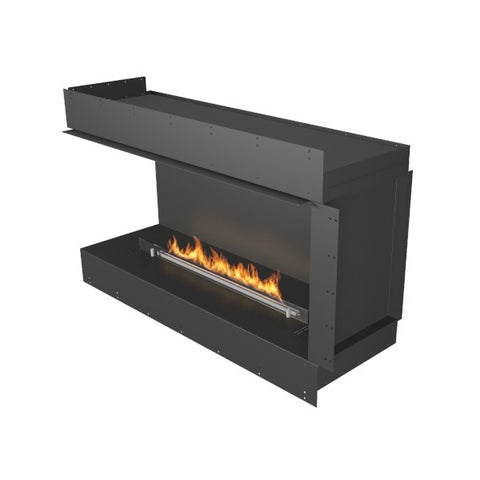"Planika Forma Left Corner 48"" Black Firebox Ethanol Fireplace w/ Remote Control-Modern Ethanol Fireplaces"