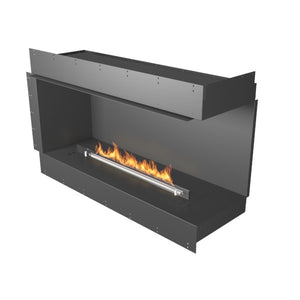 "Planika Forma Right Corner 48"" Black Firebox Ethanol Fireplace w/ Remote Control-Modern Ethanol Fireplaces"