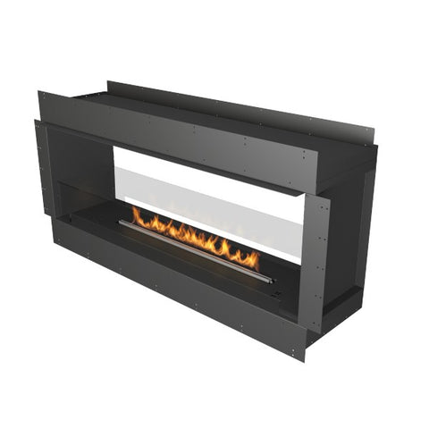 "Planika Forma Double Sided 60"" Black Firebox Ethanol Fireplace w/ Remote Control-Modern Ethanol Fireplaces"