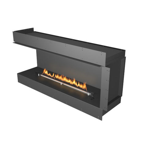 "Planika Forma Left Corner 60"" Black Firebox Ethanol Fireplace w/ Remote Control-Modern Ethanol Fireplaces"