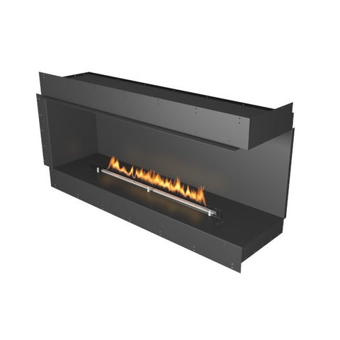 "Planika Forma Right Corner 60"" Black Firebox Ethanol Fireplace w/ Remote Control-Modern Ethanol Fireplaces"