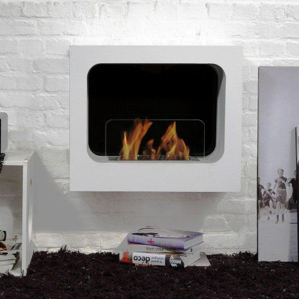 "Bio-Blaze Columbus BB-CO-W 23"" White Wall Mounted Ethanol Fireplace-Modern Ethanol Fireplaces"