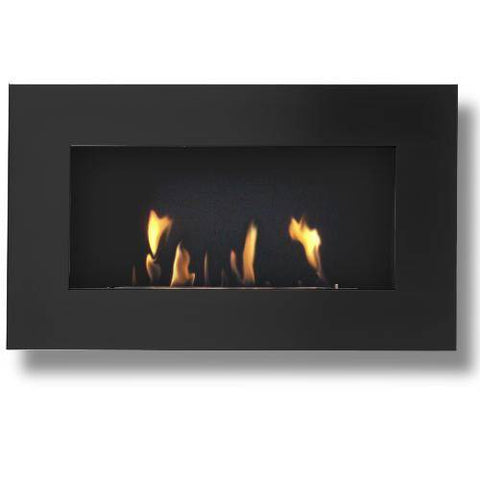 Image of Decoflame New York Plaza Wall Fireplace (Black)-Modern Ethanol Fireplaces