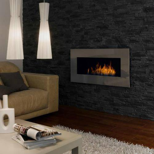 Decoflame New York Plaza Wall Fireplace (Black)-Modern Ethanol Fireplaces
