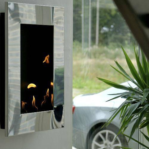 Image of Decoflame New York Tower Wall Fireplace (Black)-Modern Ethanol Fireplaces