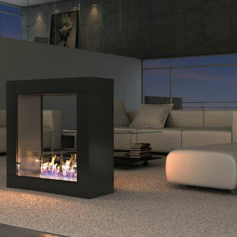 Decoflame Sydney Free-Standing Fireplace (Black)-Modern Ethanol Fireplaces