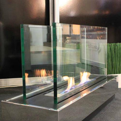 "Decoflame World Plaza Free-Standing Fireplace (Small - 43""x13""x21"")-Modern Ethanol Fireplaces"