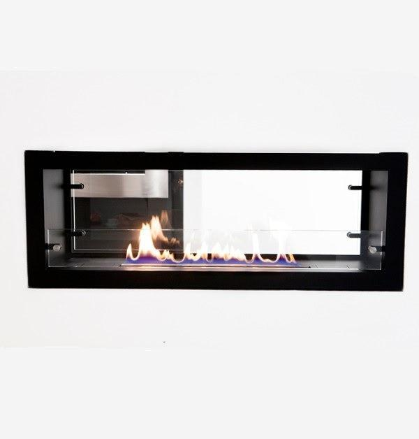 "Decoflame Orlando 47"" Black Automatic Two-Sided Ethanol Fireplace Insert-Modern Ethanol Fireplaces"