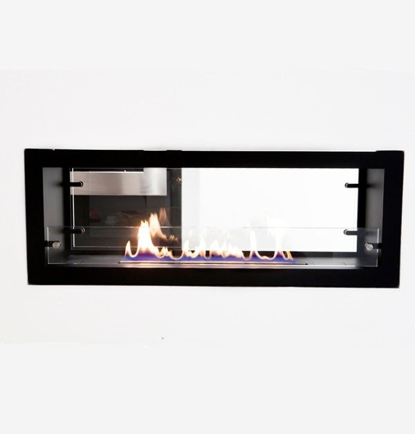 "Decoflame Orlando 39"" Black Automatic Two-Sided Ethanol Fireplace Insert-Modern Ethanol Fireplaces"