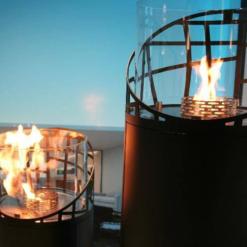 Decoflame Dubai Round Free-Standing Outdoor Fireplace-Modern Ethanol Fireplaces