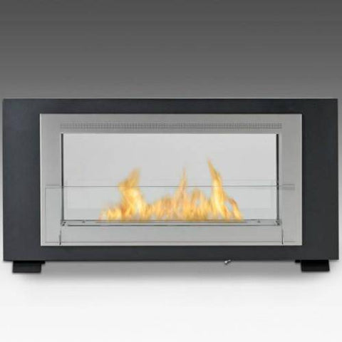 Image of Eco-Feu Santa Cruz 2-Sided Ventless Ethanol Fireplace (Free-Standing / Recessed)-Modern Ethanol Fireplaces