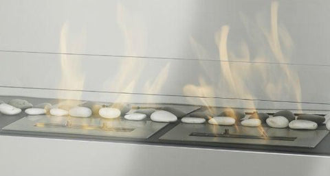 "Image of Eco-Feu 12"" Stainless Steel Ethanol Fireplace Insert w/ Spout AC-00036-Modern Ethanol Fireplaces"