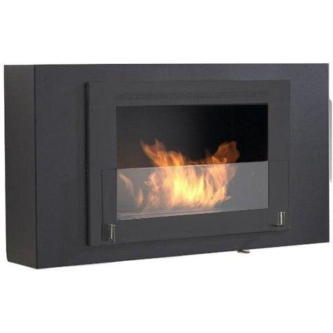 "Image of Eco-Feu Brooklyn 33"" Black Wall Mounted Ethanol Fireplace w/ Black Molding WU-00172-Modern Ethanol Fireplaces"