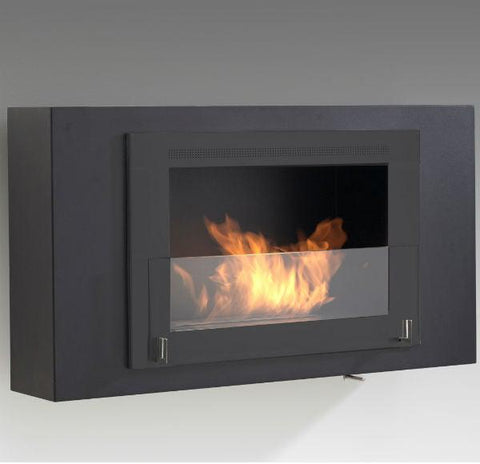 "Eco-Feu Brooklyn 33"" Black Wall Mounted Ethanol Fireplace w/ Black Molding WU-00172-Modern Ethanol Fireplaces"